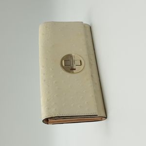 Kate Spade Ivory Leather Ostrich Embossed Silver Turnlock Envelope Long Wallet
